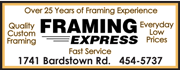 Framing Express in the Shops at Deer Park Ave. - 25 years experience of quality, custom framing at everyday low prices.