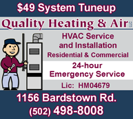 For a Quality job on your HVAC system, call Quality Heating and Air with 24-hour Emergency Service and $49 System Tuneup! (502) 498-8008