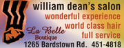 La Belle Boutique at William Dean's Salon features handmade leather bags and purses!